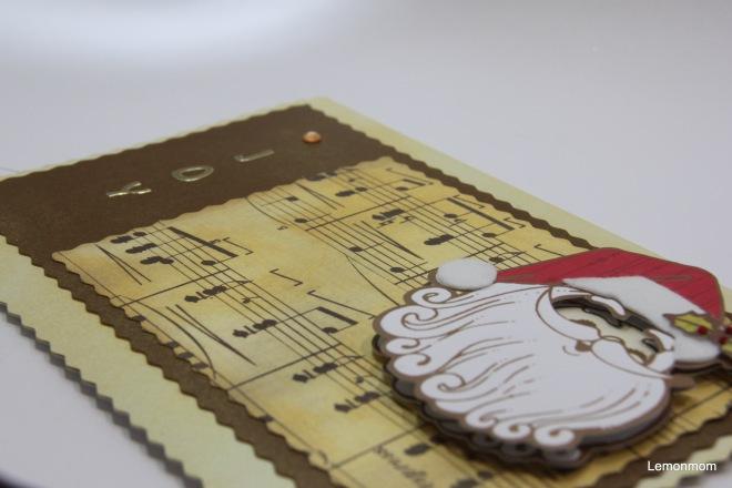 Święty Mikołaj, kartka postarzana złotym tuszem
